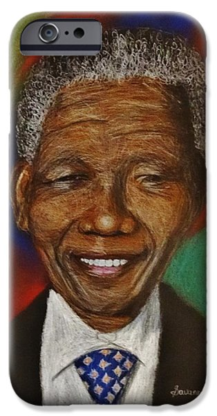 President iPhone Cases - Nelson Mandela Drawing iPhone Case by Savanna Paine