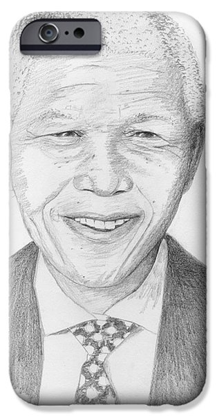 Metallic Print Drawings iPhone Cases - Nelson Mandela iPhone Case by Jose Valeriano