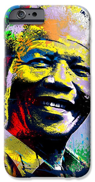 Intolerance iPhone Cases - Nelson Mandela Madiba iPhone Case by Anthony Mwangi