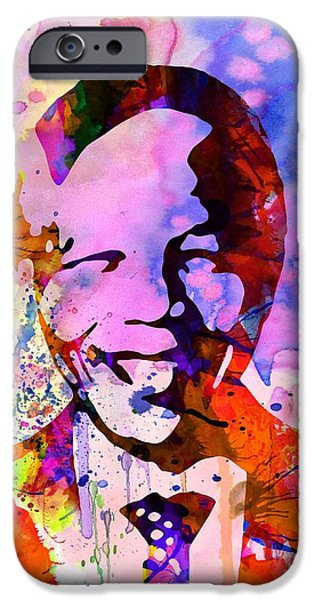 Liberation iPhone Cases - Nelson Mandela Watercolor iPhone Case by Naxart Studio