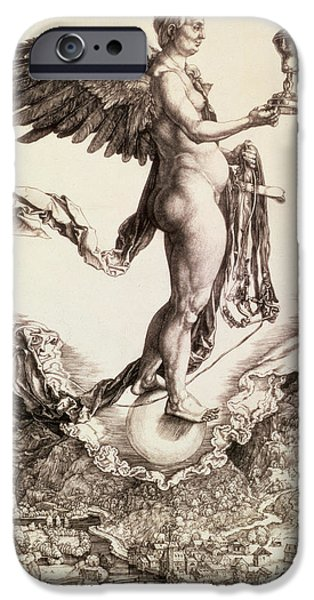 Angelic Drawings iPhone Cases - Nemesis iPhone Case by Albrecht Durer