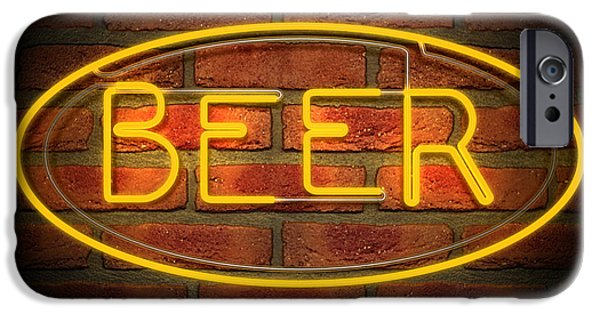 Neon iPhone Cases - Neon Beer Sign on A Face Brick Wall iPhone Case by Allan Swart