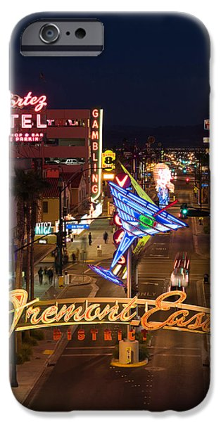 Board iPhone Cases - Neon Casino Signs Lit Up At Dusk, El iPhone Case by Panoramic Images