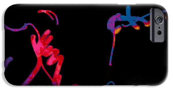 Abstract Digital Art iPhone Cases - Neon Cow - abstract-  art  iPhone Case by Ann Powell