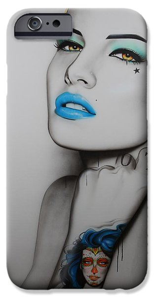 Lips iPhone Cases - Neon Day of the Dead iPhone Case by Christian Chapman Art