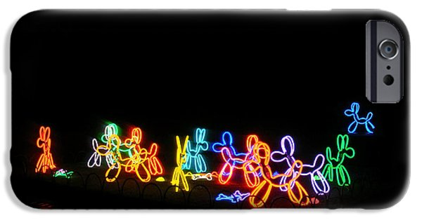 Lumiere iPhone Cases - Neon Dogs iPhone Case by Nina Ficur Feenan
