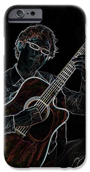Electrical iPhone Cases - Neon Guitar iPhone Case by Phyllis Taylor