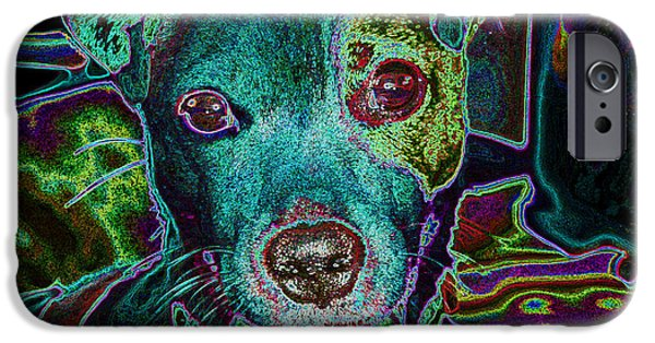 Dog Close-up Digital Art iPhone Cases - Neon Jack iPhone Case by Miki  Finn