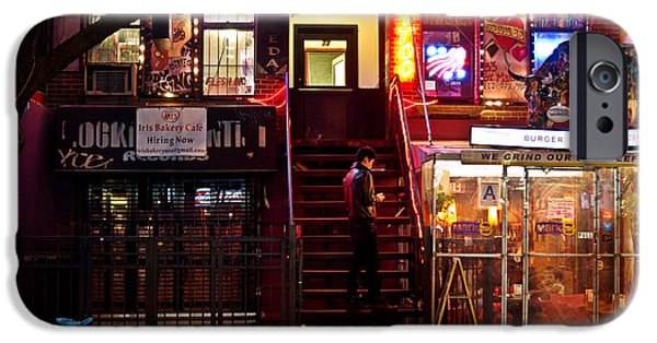 East Village Photographs iPhone Cases - Neon Lights - New York City at Night iPhone Case by Vivienne Gucwa