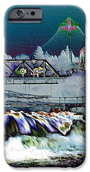 Neon Lights of Spokane Falls iPhone Case by Carol Groenen