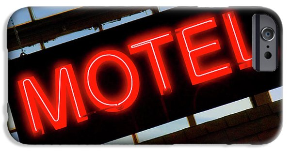 Sign Digital Art iPhone Cases - Neon Motel Sign iPhone Case by Mike McGlothlen