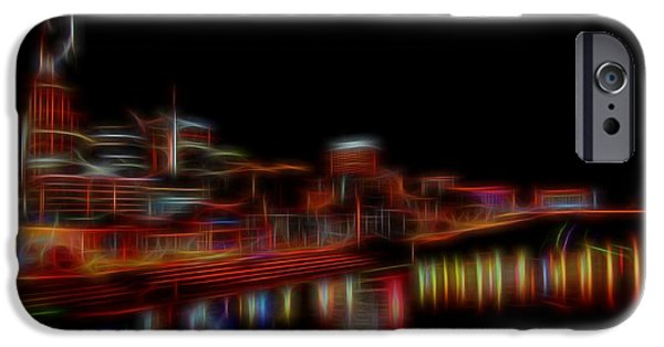 Nashville Architecture iPhone Cases - Neon Nashville Skyline At Night iPhone Case by Dan Sproul