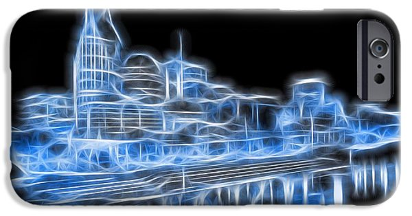 Nashville Architecture iPhone Cases - Neon Nashville Skyline iPhone Case by Dan Sproul