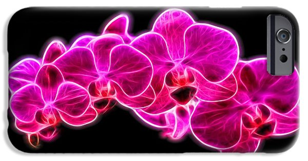 Flora Mixed Media iPhone Cases - Neon Orchid iPhone Case by Dan Sproul