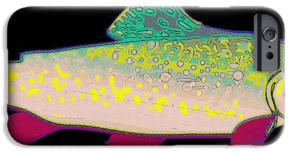 Abstract Digital iPhone Cases - Neon Rainbow Trout iPhone Case by Florian Rodarte