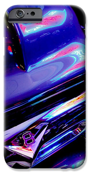 Ford V8 iPhone Cases - Neon Reflections - Ford V8 Pickup Truck -1044c iPhone Case by Jill Reger