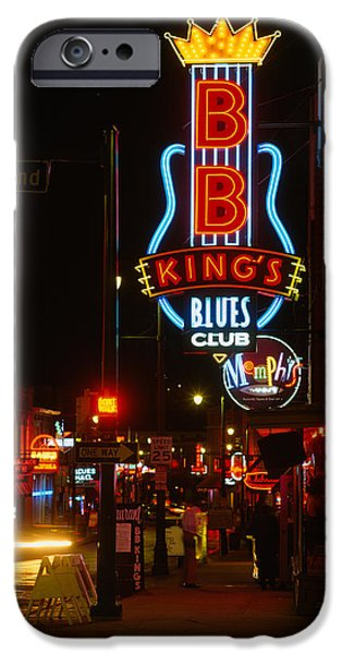 B.b.king iPhone Cases - Neon Sign Lit Up At Night, B. B. Kings iPhone Case by Panoramic Images