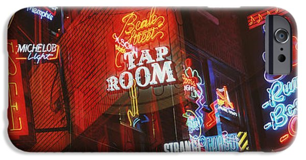 Sign iPhone Cases - Neon Signs, Beale Street, Memphis iPhone Case by Panoramic Images