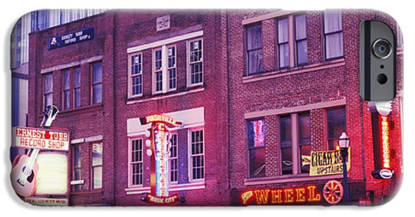 Commercial Photography iPhone Cases - Neon Signs On Buildings, Nashville iPhone Case by Panoramic Images