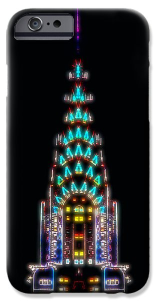 Ny Ny Digital Art iPhone Cases - Neon Spires iPhone Case by Az Jackson