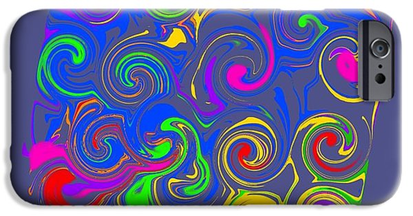Abstract Digital Drawings iPhone Cases - Neon Swirl iPhone Case by Lisa Estep