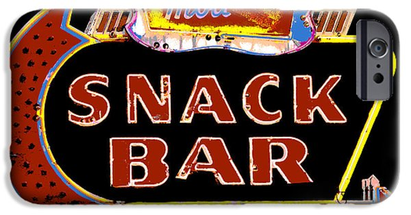 Snack Bar iPhone Cases - Neon Vintage Snack Bar Sign iPhone Case by ArtyZen Studios