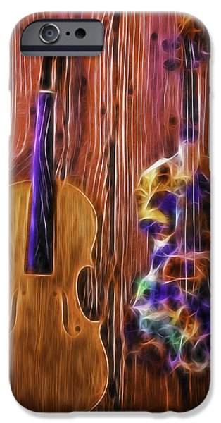Neon iPhone Cases - Neon Violins iPhone Case by Garry Gay