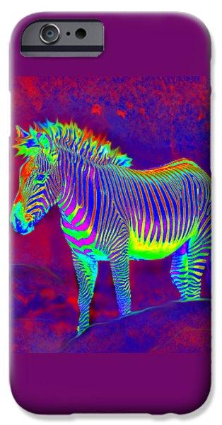 neon zebra iPhone Case by Jane Schnetlage
