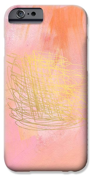 Pink Mixed Media iPhone Cases - Nest- Pink and Gold Abstract Art iPhone Case by Linda Woods