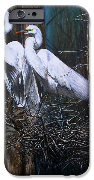 Snowy Paintings iPhone Cases - Nesting Snowy Egrets iPhone Case by Rob Dreyer AFC
