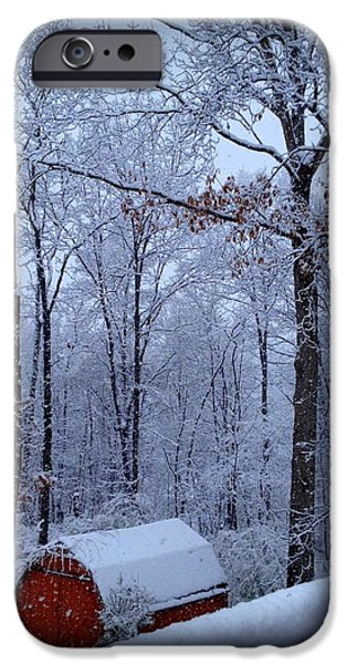 Red Barn In Winter iPhone Cases - Nestled In iPhone Case by Diane Leo