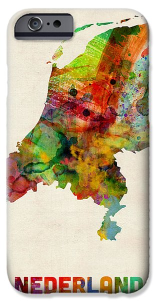 Nederland iPhone Cases - Netherlands Watercolor Map iPhone Case by Michael Tompsett