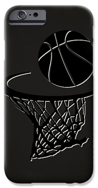 3 Pointer iPhone Cases - Nets Team Hoop2 iPhone Case by Joe Hamilton