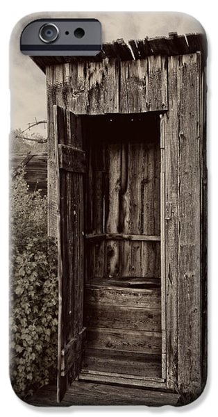 Clapboard House iPhone Cases - Nevada City Ghost Town Outhouse - Montana iPhone Case by Daniel Hagerman