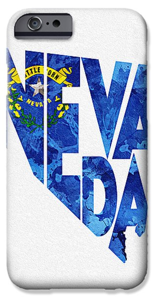 Original Watercolor iPhone Cases - Nevada Typographic Map Flag iPhone Case by Ayse Deniz