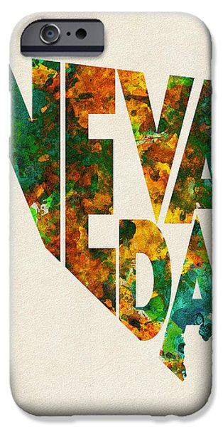 Flag iPhone Cases - Nevada Typographic Watercolor Map iPhone Case by Ayse Deniz