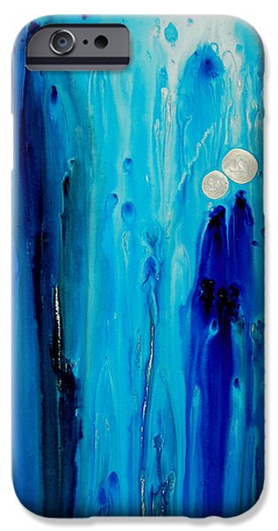 Abstract Canvas Paintings iPhone Cases - Never Alone By Sharon Cummings iPhone Case by Sharon Cummings