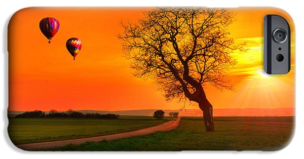 Hot Air Balloon iPhone Cases - Never Ending Road iPhone Case by Midori Chan