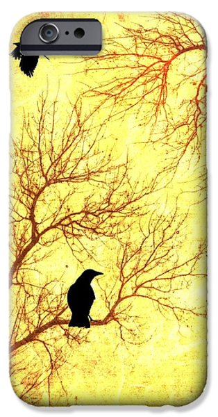 Crows Mixed Media iPhone Cases - Nevermore iPhone Case by Dan Sproul