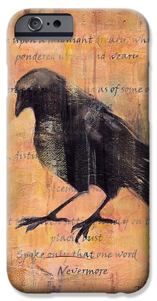 Crows Mixed Media iPhone Cases - Nevermore II iPhone Case by Peggy Wilson