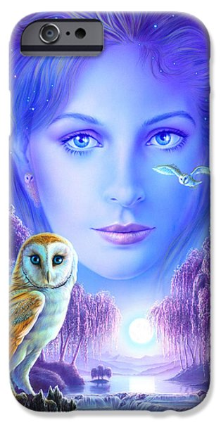 Flying Animals iPhone Cases - New Age Owl Girl iPhone Case by Andrew Farley