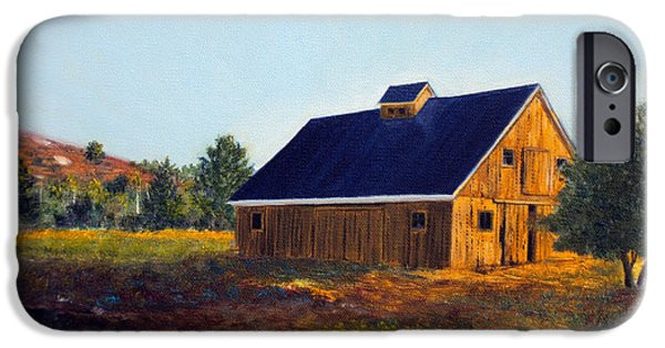 Maine Farms Paintings iPhone Cases - New Barn iPhone Case by Laura Tasheiko