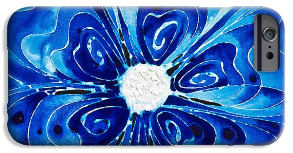 Blue Abstracts iPhone Cases - New Blue Glory Flower Art - buy Prints iPhone Case by Sharon Cummings