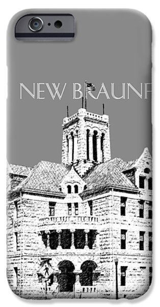 Pen And Ink iPhone Cases - New Braunfels Skyline - Pewter iPhone Case by DB Artist