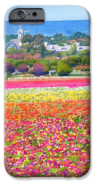 Windmills iPhone Cases - New Carlsbad Flower Fields iPhone Case by Mary Helmreich