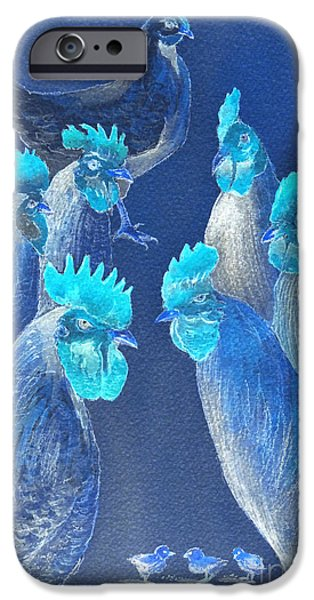 Roosting iPhone Cases - New Chick On The Block In Blue iPhone Case by Bill Holkham