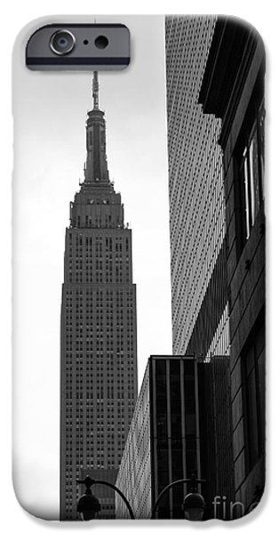 Empire State iPhone Cases - New Day in New York City mono iPhone Case by John Rizzuto