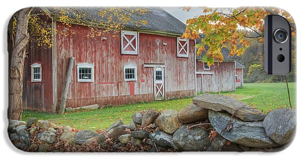 Connecticut Landscape iPhone Cases - New England Barn iPhone Case by Bill  Wakeley