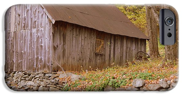 Fall iPhone Cases - New England barn iPhone Case by Linda Covino