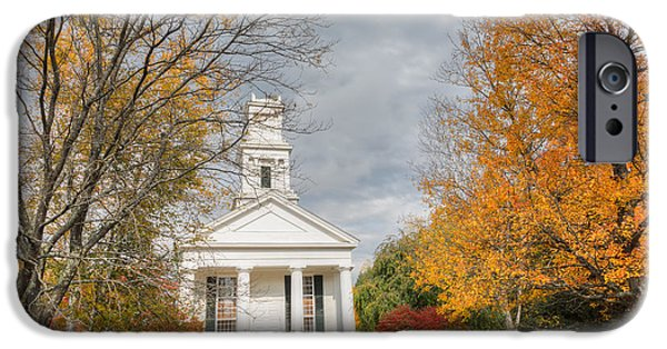 Autumn In The Country iPhone Cases - New England Country Church iPhone Case by Bill  Wakeley